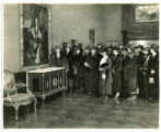 """Delegates from the Women's Clubs viewing the Exhibit of French Eighteenth Century Art at THE..."