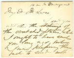 Letter from Mary Cassatt to George A. Lucas, after 1887.